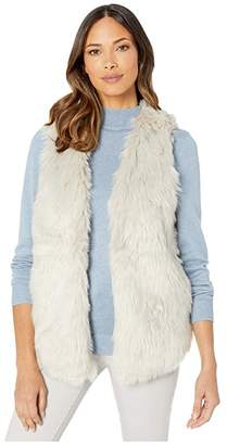 True Grit Dylan by Melange Heather Faux Fur Vest with Heather Knit Lining (Heather/Natural) Women's Clothing