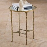 The Well Appointed House Global Views Organic Side Table in Antique Brass with a Mirror Top