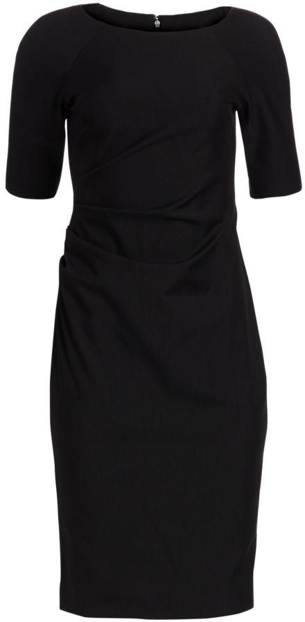 Lela Rose Ruched Stretch Twill Dress