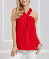 Suzanne Betro Women's Tunics 105 - Red Twist-Front Halter Tunic - Women & Plus