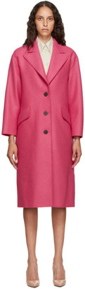 Harris Wharf London Pink Pressed Virgin Wool Great Coat