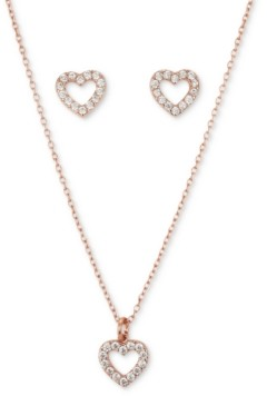 Unwritten Fine Silver Plated 2-Pc. Set Cubic Zirconia Open Heart Pendant Necklace & Matching Stud Earrings in Rose Gold