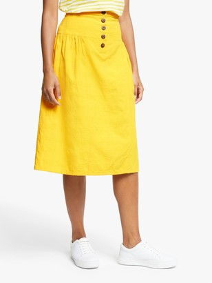 People Tree Epperly Midi Skirt, Yellow