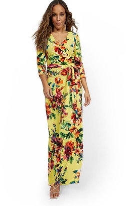 New York & Co. 3/4-Sleeve Tie-Front Maxi Dress
