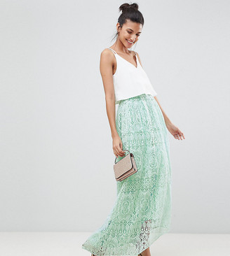 Asos Tall DESIGN Tall lace maxi prom skirt-Yellow
