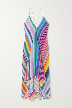 Etro Asymmetric Striped Crepe Dress - Blue