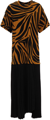 3.1 Phillip Lim Pleated Crepe And Zebra-print Cotton-jersey Midi Dress