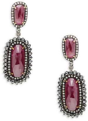 Artisan 18K Yellow Gold, Black Rhodium-Plated Sterling Silver, Ruby & Diamond Drop Earrings