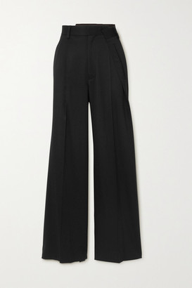 MM6 MAISON MARGIELA Pleated Twill Wide-leg Pants - Black