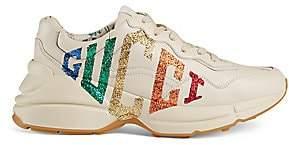 Gucci Women's Rhyton Glitter Leather Sneaker