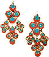 Devon Leigh Coral & Turquoise Chandelier Earrings