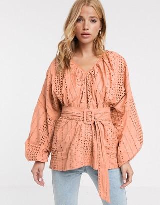 Asos Design DESIGN broderie kimono sleeve top with belt detail-Tan