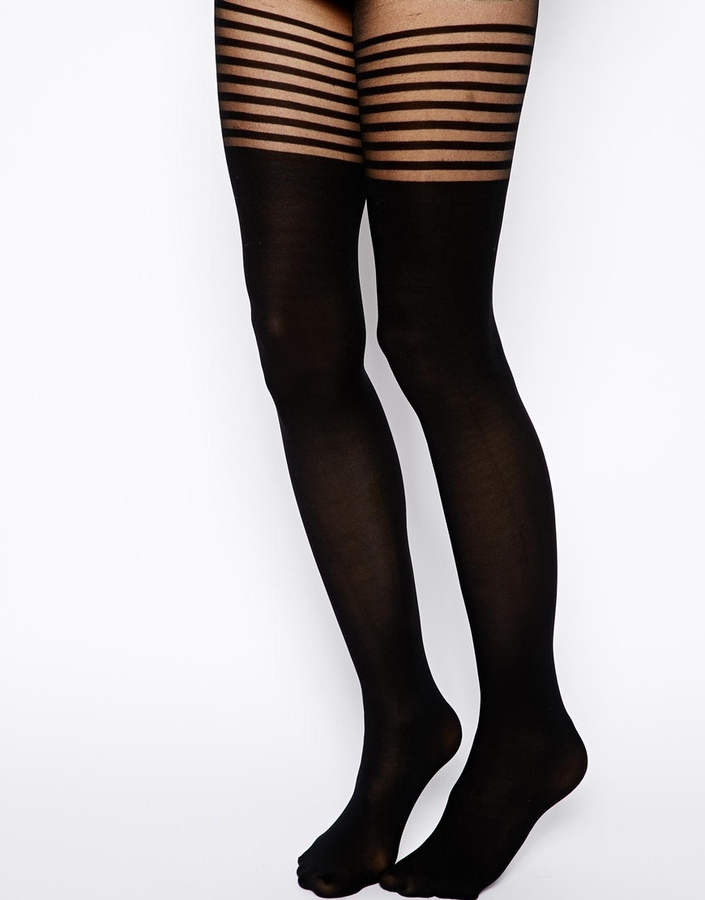 Asos 8 Stripe Over The Knee Tights