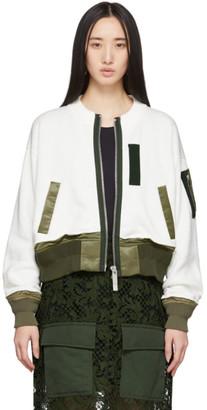 Sacai Off-White Knit Combo Bomber Jacket