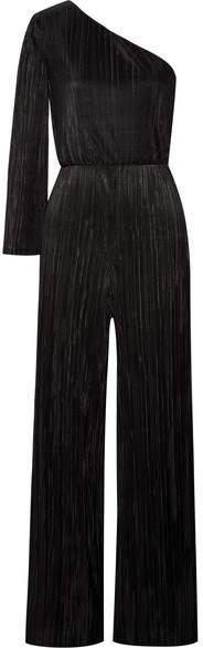 Alice + Olivia Keiko 单肩褶裥缎布连身裤