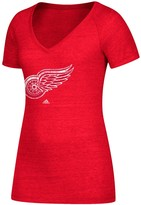 adidas Women's Red Detroit Red Wings Distressed Logo V-Neck T-Shirt
