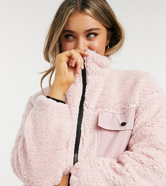 Wednesday's Girl oversized zip through jacket with pocket detail in faux fur