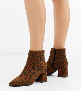 Simply Be Wide Fit Simply Be wide fit Shauna block heel boot in leopard