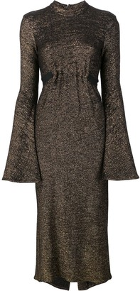 Ellery Bell Sleeve Metallic Dress