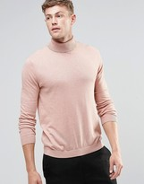 Asos Cotton Roll Neck Sweater in Pink