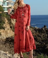 Ananda's Collection Women's Maxi Dresses rust - Rust Embroidered Long-Sleeve Maxi Dress - Women