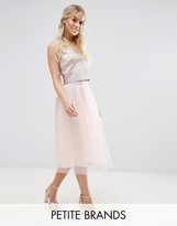 Little Mistress Petite Allover Pearl Embellished Full Midi Prom Skirt