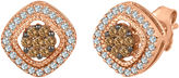 JCPenney FINE JEWELRY 1/2 CT. T.W. White and Champagne Diamond 10K Rose Gold Cluster Earrings