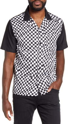John Varvatos Bobby Checkerboard Short Sleeve Button-Up Bowling Shirt
