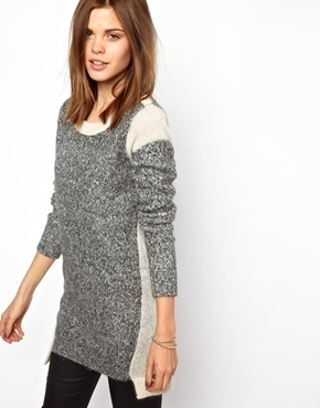 French Connection Block Party Knitted Sweater Dress - Black/white multi
