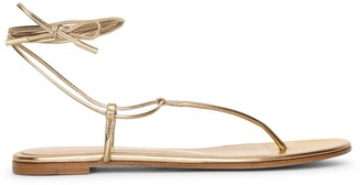 Gianvito Rossi Metallic gold leather flat sandals
