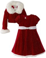 Bonnie Jean Girls Christmas Dress Velvet Sparkle Dress with Jacket (3-6 months)