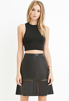 Forever 21 FOREVER 21+ Contemporary Faux Leather Laser-Cut Skirt
