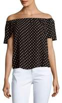 Romeo & Juliet Couture Flyaway Polka Dot-Print Off-The-Shoulder Top