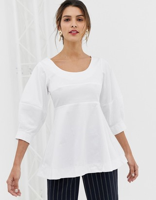 Closet London Closet Volant shell top with Big Sleeves