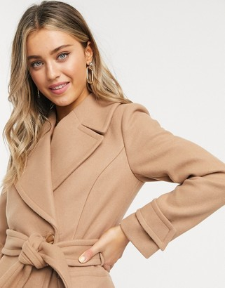 Forever New long wrap coat in camel