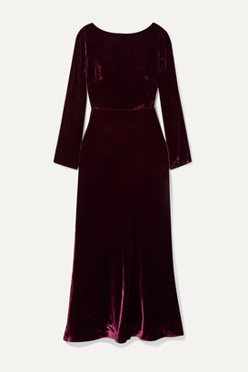 Saloni Tina Open-back Draped Velvet Midi Dress - Plum