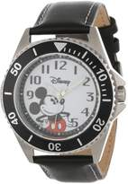 Disney Kids' W000518 Mickey Mouse Honor Leather Strap Watch