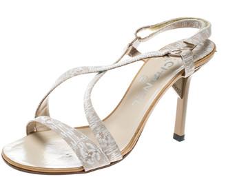Chanel Beige Fabric CC Logo Slingback Sandals Size 37