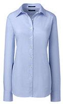 Lands' End Women's Traditional No Iron Dress Shirt-Light Blue
