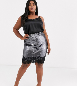 Simply Be sequin midi skirt with lace hem
