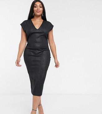 Asos DESIGN Curve snake leather look midi dress-Black
