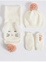 Marks and Spencer Kids' Hat, Scarf & Mittens Set