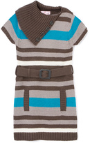 Pink Angel Turquoise & Charcoal Stripe Belted Dress - Infant Toddler & Girls
