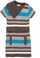Pink Angel Turquoise Stripe Belted Split-Neck Dress - Infant Toddler & Girls