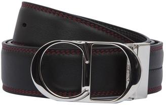 Christian Dior Red Stitched Logo Buckle Belt