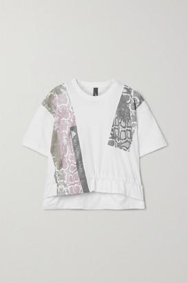 adidas by Stella McCartney Cropped Snake-print Stretch-jersey T-shirt