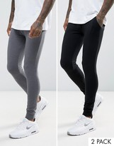 Asos Extreme Super Skinny Joggers In Black/Charcoal Marl 2 Pack Save