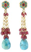 Amrita Singh Heena 18K Yellow Gold, Turquoise, Ruby & Tourmaline Earrings