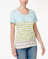 Karen Scott Striped Seahorse-Print T-Shirt, Created for Macy's