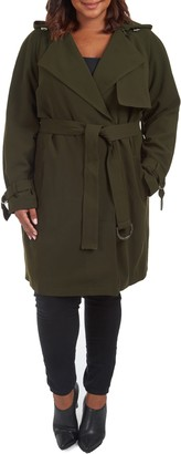 Rachel Roy Water Repellent Hooded Trench Coat